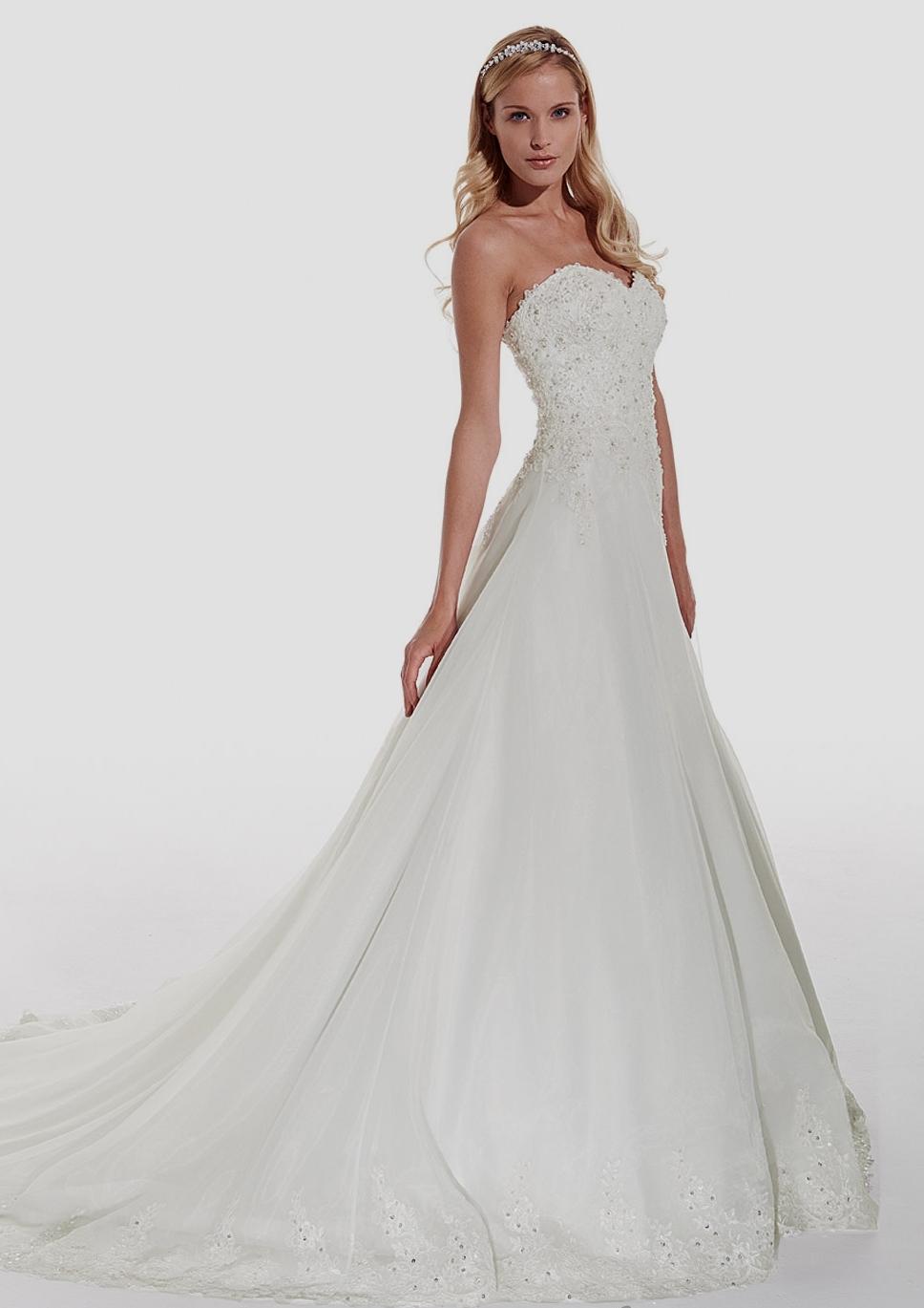 Brautkleid Hochzeitskleid In A Linie Mit Silber Applikationen Weià ...
